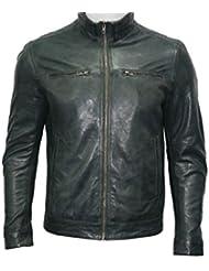 Hombres ponen en cortocircuito retro 100 % de la chaqueta gris Nappa del motorista del cuero