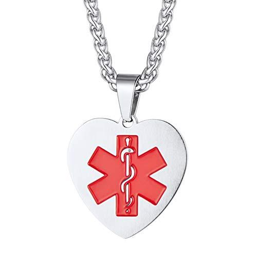 PROSTEEL Medical Alert ID Kette Schmuck Edelstahl Herz Anhänger mit roten Symbol Stern des Lebens SOS Notfall Epilepsie Allergie Patienten - Medical Alert-herz