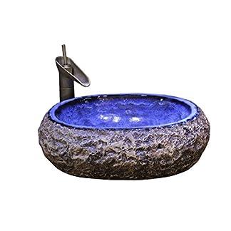 LUYIASI- Lavabo sobre lavabo de la encimera del lavabo de la cuenca del arte Lavabo de cerámica retro de la piedra lavabo antiguo hecho a mano viejo (54X38X16CM) bathtub