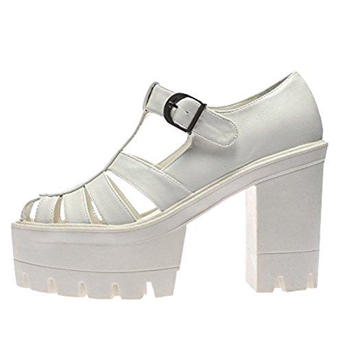 f0b6ba8675d06a Mesdames Femmes Chunky platdorm Semelle à Crampons Talon Haut bretelles Sandales  Chaussures Taille Blanc - Blanc