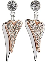 Miss Dee 14crt rose gold plated double heart shaped drop stud earrings