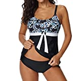 Epig Frauen Retro Print Push-Up Gepolsterter BH Tankini Sets Mit Jungen Shorts Damen Sommer Bikini Set Bademode