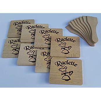 Raclette-Set 16tlg. aus Holz 8 Spachteln+8 Brettchen auf Wunsch m. Namensgravur
