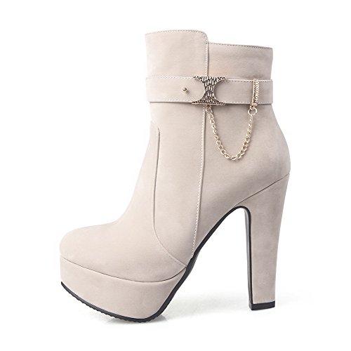 AllhqFashion Damen Rein Hoher Absatz Rund Zehe Nubukleder Reißverschluss Stiefel, Kamel Farbe, 42