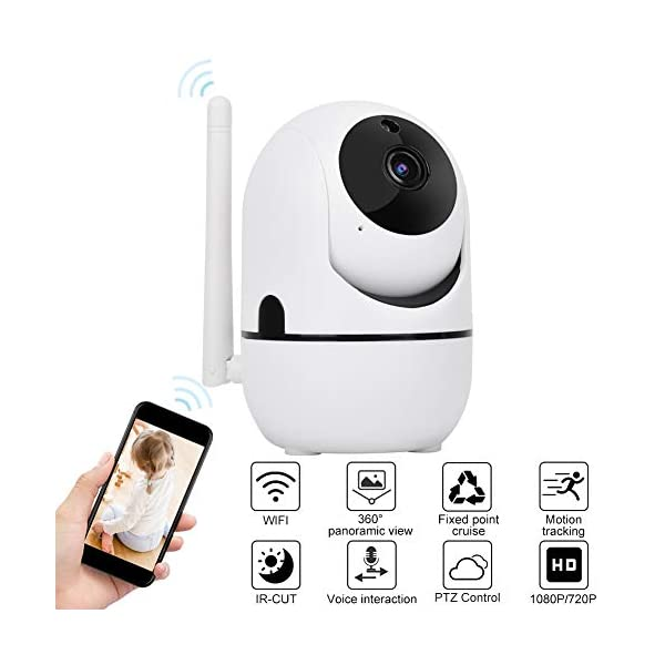 Baby Monitor 720P/1080P HD WiFi Camera Baby Pet Monitor, Smart Wireless IP Camera Indoor Camera with Night Vision and Motion Tracking White(1080P)  720P/1080P HD Images & Night Vision: This baby monitor adopt 1080P/702P full HD lens to ensure bright and beautiful images. Premium infrared light with IR-CUT function, provides clean and clear night vision effect. Intelligent tracking, human body detection, area protection (200W model support). Motion Tracking: The IP camera can monitor movements then send notification to your mobile phone to prevent your home From invasion. Intelligent cruise, internal auto cruise mode, records every corner of your home to escort your home security. 2 Way Audio Anti Noise: Baby pet monitor camera support two-way voice intercom, built-in microphone & speaker and anti noise technology to ensure clear voice quality. The fluent sound allows you to comfort your loved one. You can communicate with each other clearly whenever you want. 1