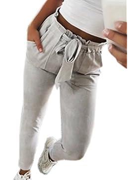Gavemenget Primavera Mujeres Casual Vendaje Nueve Puntos Pantalón Slim Pantalones Pitillo Oficina Leggings