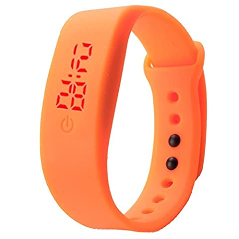 Unisex Gummi-LED Sport Digital Armbanduhr Kolylong Uhr Damen Herren (Orange )