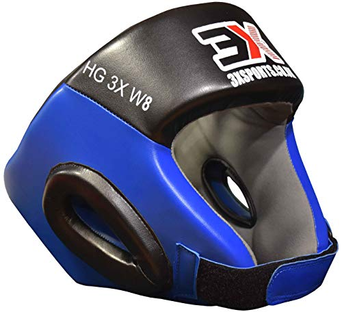 3X Professional Choice Casco de Boxeo Cara Abierta Liani Casco de Cuero Krav Maga MMA Sparring Casco Protector Fighting Head Guard