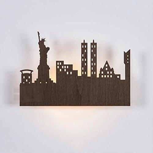 GAOLILI Simple Applique Murale Creative Lampe Murale Led Lampe Murale Mince Designer Applique Murale Salon Mur Lampe Chambre Chevet Lampe Ville Ville Silhouette New York Liberté Pour La Liberté LED Source de Lumière