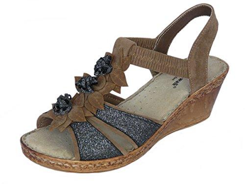 Cushion Walk Sandales Compensées pour Femmes avec Doublure de Cuir Marron Style 1