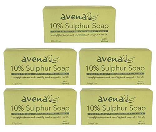 Natural Sulphur Soap Pack of 5 (200g x 5): 10% Sulphur, No Parabens, SLS or  SLES, Suitable for Vegans