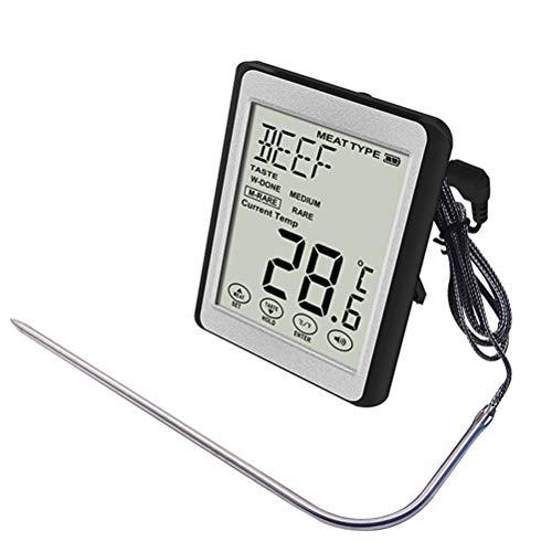 LIOOBO Digital LCD Thermometer 3 LED-Farbwechsel für Grillen ohne Batterie (Schwarz)
