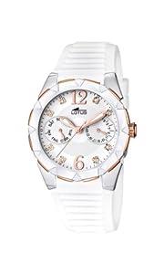 Reloj analógico Lotus 15731/2 de cuarzo para mujer con correa de caucho, color blanco