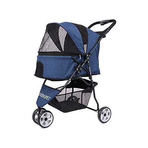 Kinderwagen 3 Räder One-Click Folding Cat Hundekäfig Ablagekorb Easy Walk Panorama-Fenster Starker Stabiler Reiseträger (Color : Blue)