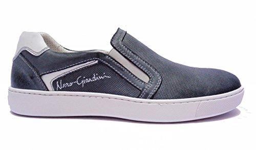 Nero Giardini P704950U sneakers da uomo slip on in pelle col. Jeans, num. 43