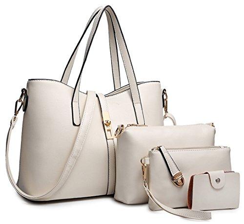 Tibes PU cuir sac à main + épaule de sac de femmes de la mode + porte-monnaie + carte 4pcs mis blanc1