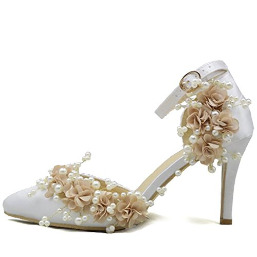 Women Es High Heels Satin Lace Sexy Flachen Mund Spitze Stiletto Heels Sandalen Brautjungfer Schuhe Braut Hochzeit Schuhe Perlen Brautschuhe Pumps White Heel Hohe 8Cm,XL White Satin Wedge Schuhe