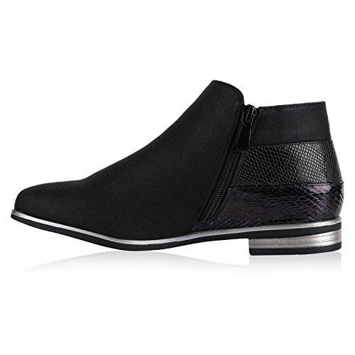 Damen Stiefeletten Flache Ankle Boots Lack Metallic Schuhe Schwarz