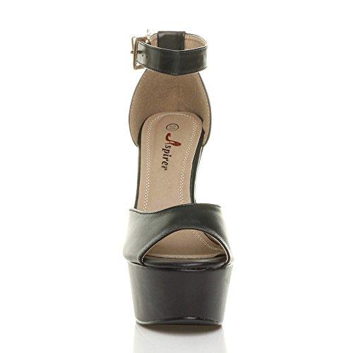 Damen Hochblockabsatz Peep Toe Plateau-Schuhe Party Knöchelriemen-Sandalen Größe Schwarz Matt