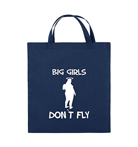 Comedy Bags - BIG GIRLS DON'T FLY - Jutebeutel - kurze Henkel - 38x42cm - Farbe: Schwarz / Silber Navy / Weiss