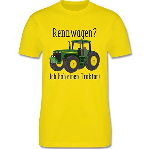Landwirt - Rennwagen? Traktor! - Herren T-Shirt Rundhals Lemon Gelb