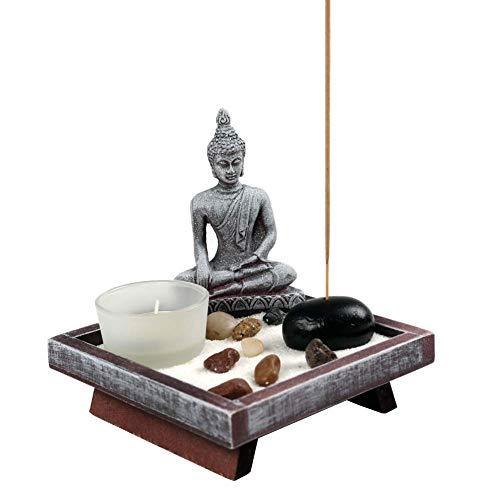 OM HOME Jardin Zen Figura Buda en Bandeja Cuadrada,con portavela, portaincienso y Roca decoración