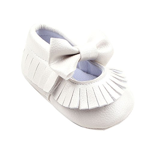 Saingace® Baby girl berceau chaussures bowknot bambin chaussures de sport,0-18mois (11, Violet) Blanc