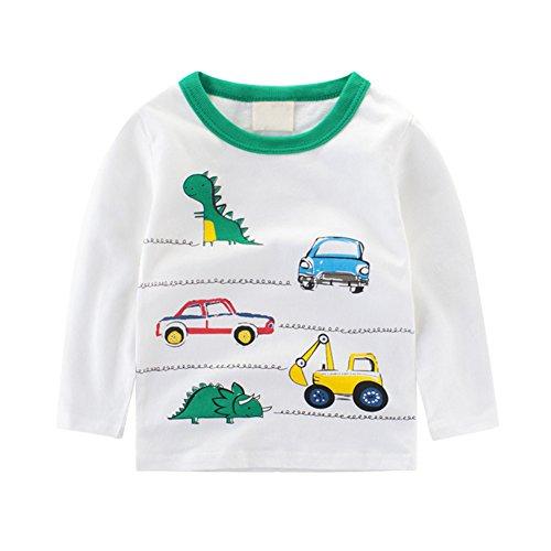 Luerme Kleinkind Kinder Jungen Baumwoll T-Shirt Karikatur Fahrzeug Muster Beiläufiges Lange Ärmel Tops (2-3 Jahre, Auto & Dinosaurier) (1 Baumwoll-t-shirt Und)