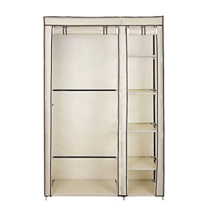 Songmics Double Canvas Wardrobe Cupboard Clothes Hanging Rail Storage Shelves Beige 175 x 110 x 45 cm LSF007M - cheap UK wordrobe shop.