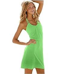 Ninimour Fashion - kurzes Strandkleid Bikini Cover (s, grün)