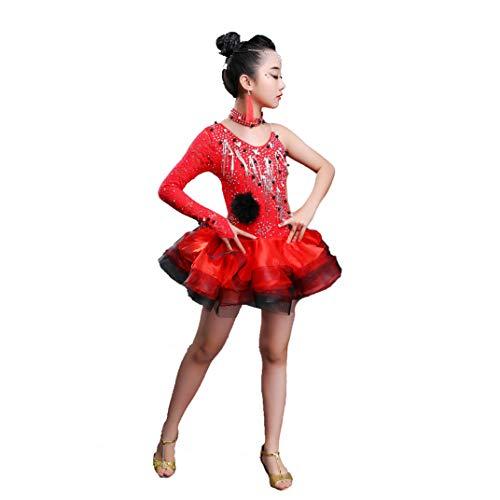 HEUFHU888 Tanzbekleidung - Latin Dance Kostüme für Kinder Leistungswettbewerb Flauschiger Rock Stilvoll, komfortabel und für eine Vielzahl von Au (Farbe : Red, größe : ()
