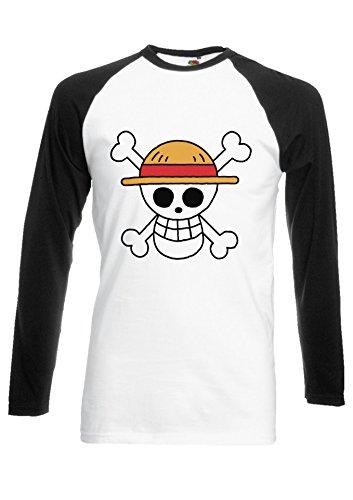 One Piece Flag Japanese Manga ????? Novelty Black/White Men Women Unisex Long Sleeve Baseball T Shirt-M -