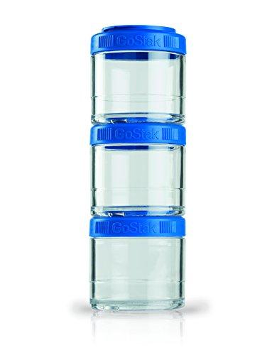 BlenderBottle GoStak Container zum Aufbewahren von Protein| Eiweiß| Pulver| Vitaminen & mehr- 3Pak 100ml blau (3x100ml)