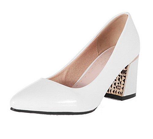 AllhqFashion Femme Tire Pointu à Talon Correct Pu Cuir Couleur Unie Chaussures Légeres Blanc