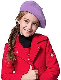 e0ad372574df IBLUELOVER Béret Enfant Casquette Plate Fille Garçon Bonnets Chaud en Laine  Chapeau Hiver Classique Artiste Français