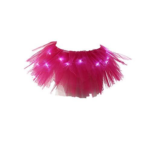 Lazzboy Rock Tüll Ballkleid Damenmode Leuchten LED Bühnentanz Rave Mini Solide (Hot ()