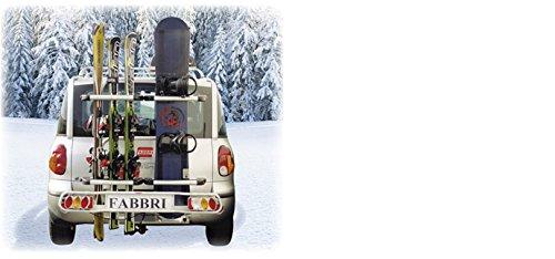 Tür Ski auf Kupplung Fabbri Exclusiv Ski & Board Deluxe Skiträger und porte-snowboards für Haken Anhängevorrichtung