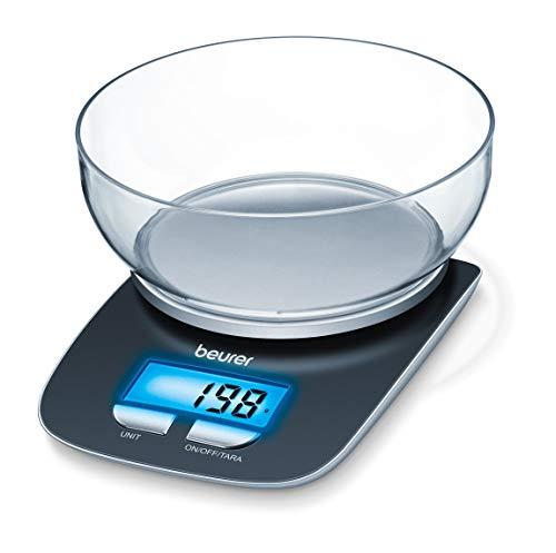 Beurer ks 25 bilancia da cucina digitale, 1.2 litri, legno, nero