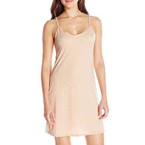 OSYARD Damen Mode Ärmelloses Festes Sommerkleid über Dem Knie Trägerlos Ein Linien Kleid Loose Partykleid