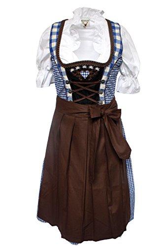 Alpenmärchen, 3tlg. Dirndl-Set - Trachtenkleid, Bluse, Schürze, Gr.36, blau-braun, ALM013
