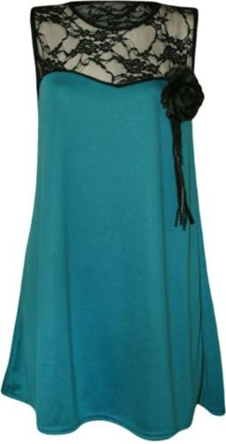 New Womens Plus Size Lace Floral Tunic Dress Top 16-26 ( Teal , UK 20-22 / EU 48-50 ) (Teal Lace Top)