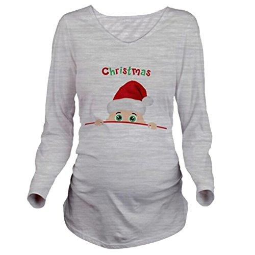 Yying christma maglietta donne incinte maglia a manica lunga giacca di gravidanza grigio m
