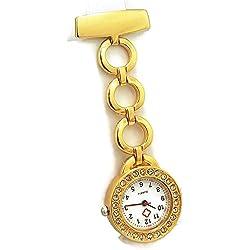 QBD Classic Kristall Rot Kreuz Krankenschwestern Armbanduhr Krankenhaus Arzt Paramedic Tunika Brosche Taschenuhr (rund gold)