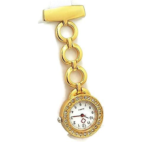 QBD Classic Crystal Cruz Roja enfermeras reloj Hospital Médico Paramédico Túnica Broche Reloj de bolsillo (redondo), color dorado