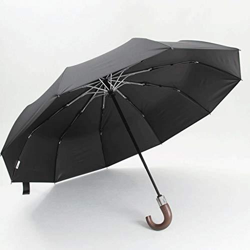 Regenschirm 478g Automatik Grau Schwarz Exquisite Massivholz Haken Regenschirm 10 Knochenverstärkung Herren Automatikschirm (Color : Black)