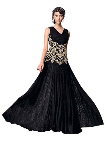 UFS Women's Black Net Semi Stitched Anarkali Dress Salwar Suit