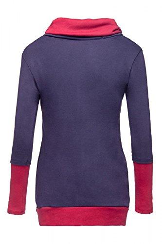 Happy Mama. Damen Sweatshirt Stillzeit Top Zweilagiges. Kontrastdetails. 348p Graphit & Purpur
