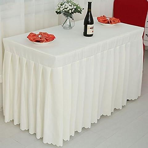 Fitted Table Skirt Cover Banquet de mariage avec toké de topper Top Creamy-white ( Couleur : Blanc crème , taille : 60*150*75CM )