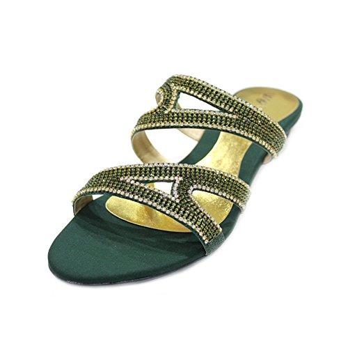 W & W femmes Mesdames Diamante Soirée sur antidérapant chaussures sandales Taille (REBA) green