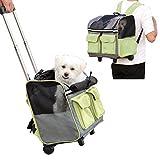 Maxmer Transportín Perro Carrito de Mascotas Capazo Perro Mochila Gatos para Línea Aérea, Color Verde